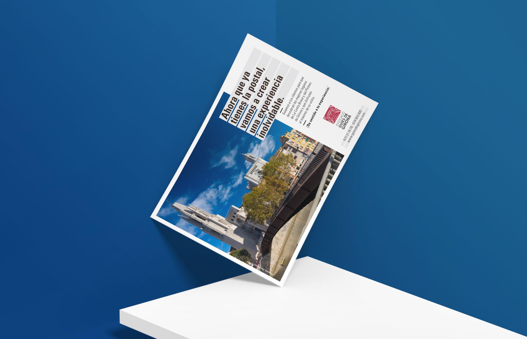 Associació de Guies de Girona. Flyer-postal de promoció turística. En castellà.