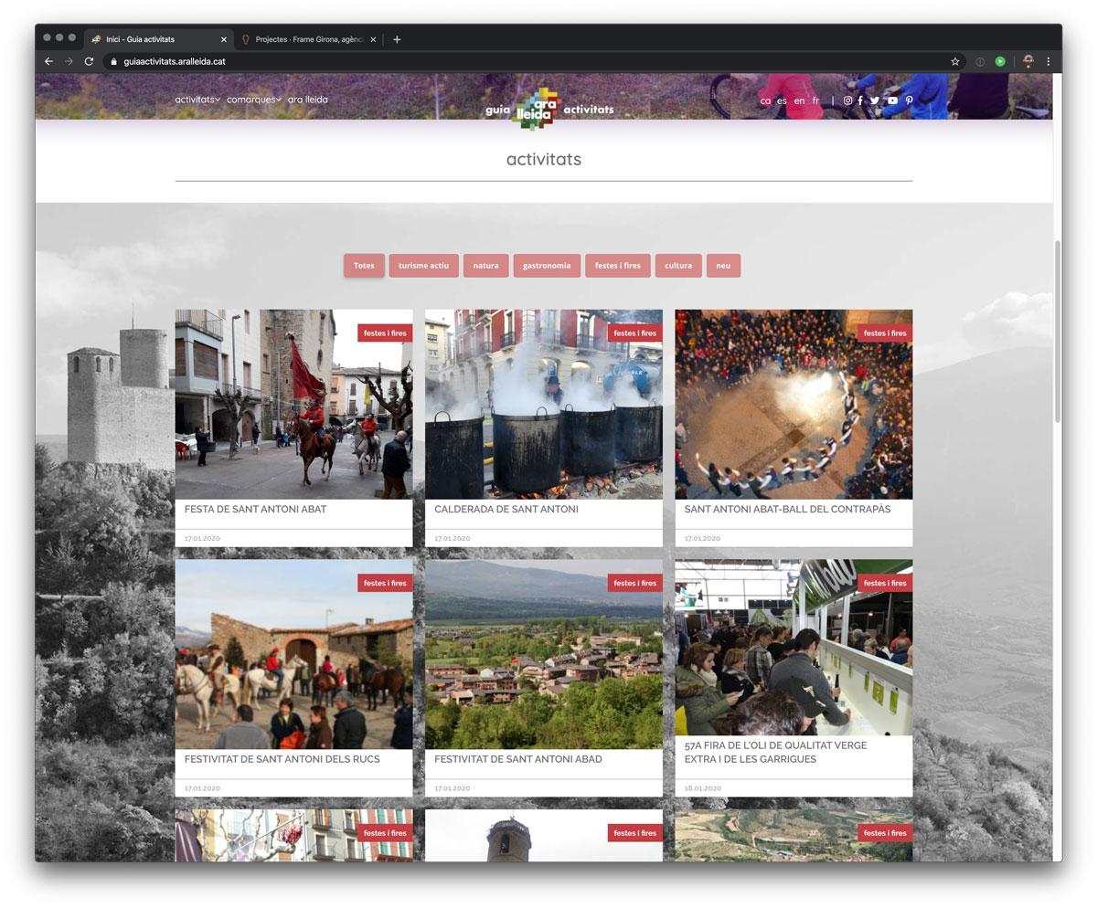 Ara Lleida. Pàgina Web. Activitats home.
