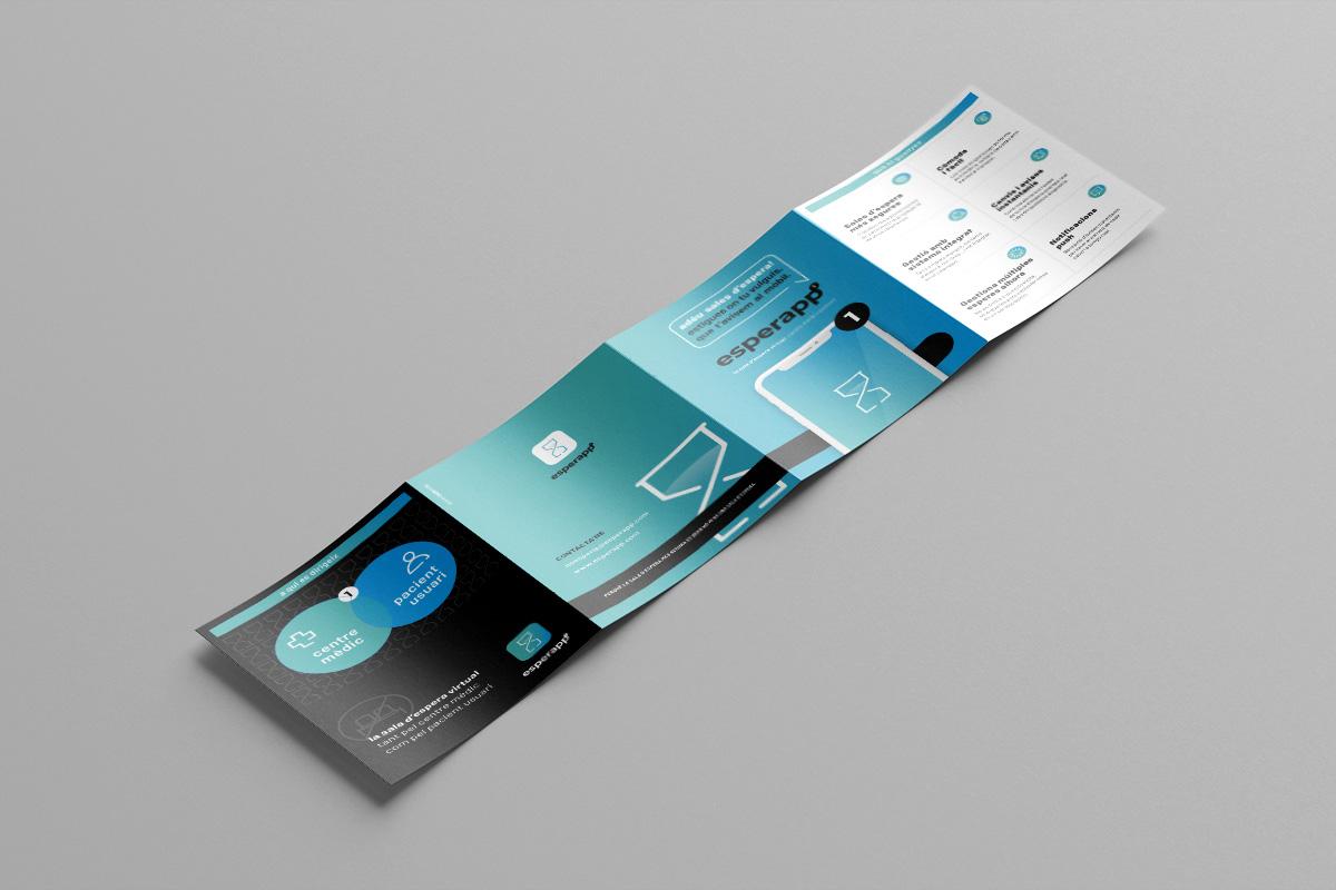 Esperapp. La teva sala d'espera virtual. Disseny Identitat Visual Corporativa, APP, Web, Peces corporatives. Quadríptic exterior.