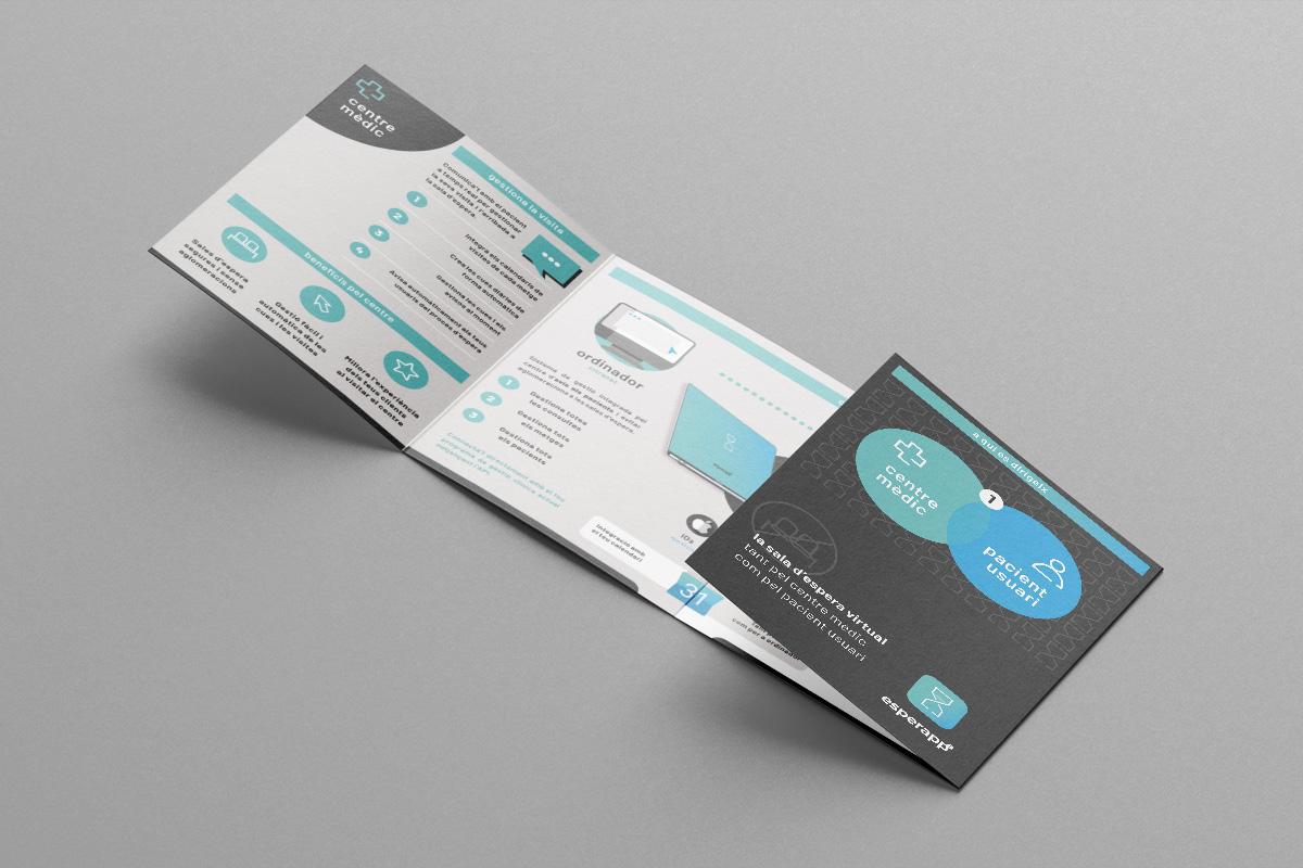 Esperapp. La teva sala d'espera virtual. Disseny Identitat Visual Corporativa, APP, Web, Peces corporatives. Quadríptic interior.